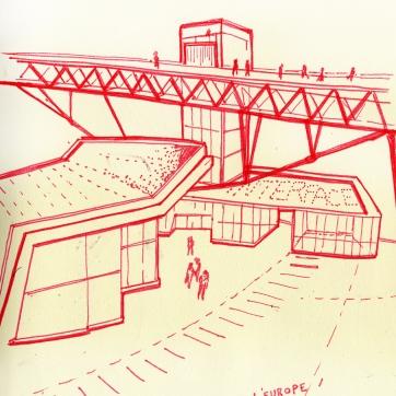 """Lausanne, La """"pliure de l'Europe"""", projet de Tschumi et Merlini architectes"""